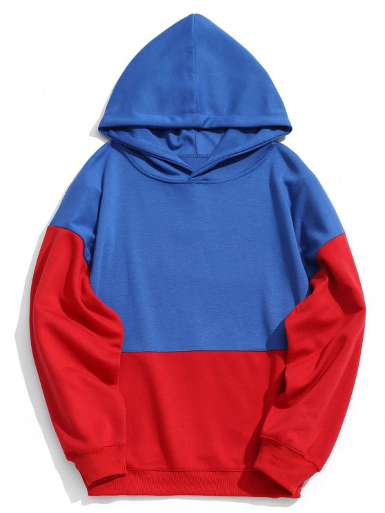 fancy Two Tone Pullover Hoodie - BLUE S