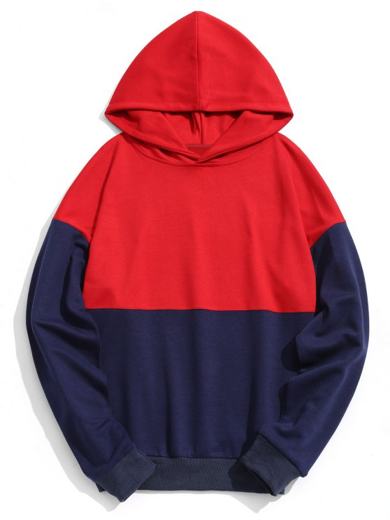 latest Two Tone Pullover Hoodie - RED S