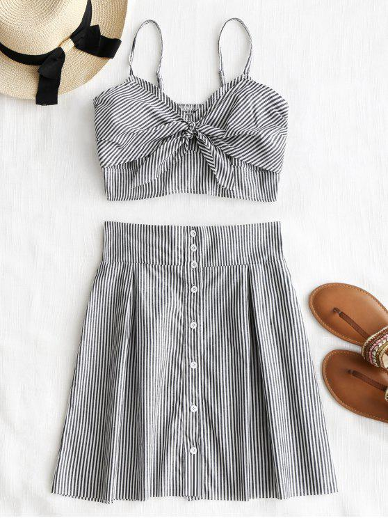 buy Bralette Stripes Top and Button Up Skirt Set - STRIPE S