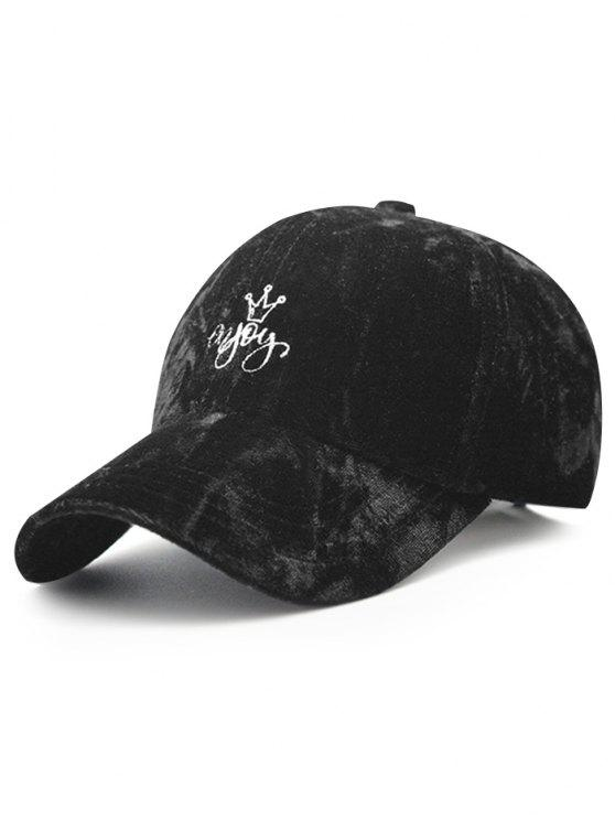 best Yoy Crown Embroidery Velvet Baseball Hat - BLACK