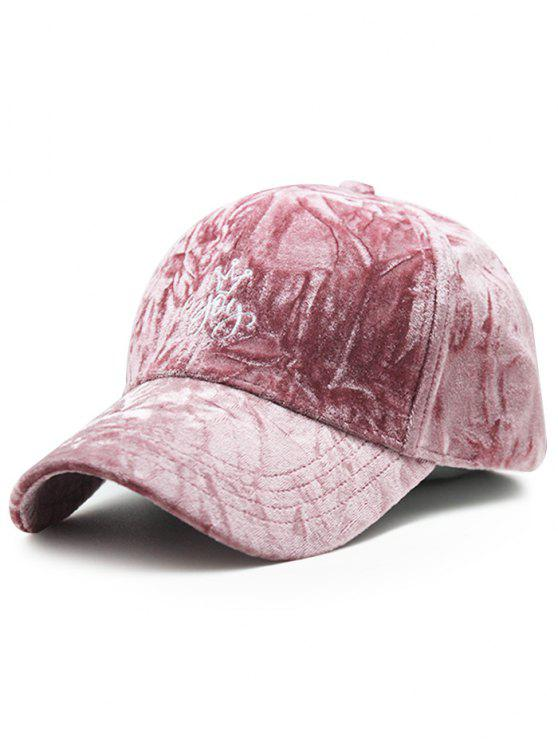 Yoy Crown Stickerei samt Baseball-Mütze - Rosa