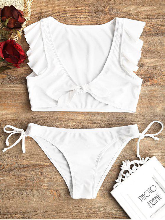 Bikini Con Stringhe Anteriori In Tinta Con Ruches - Bianca S