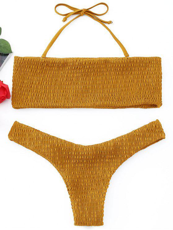 affordable Smocked Bandeau Bikini Set - GINGER L