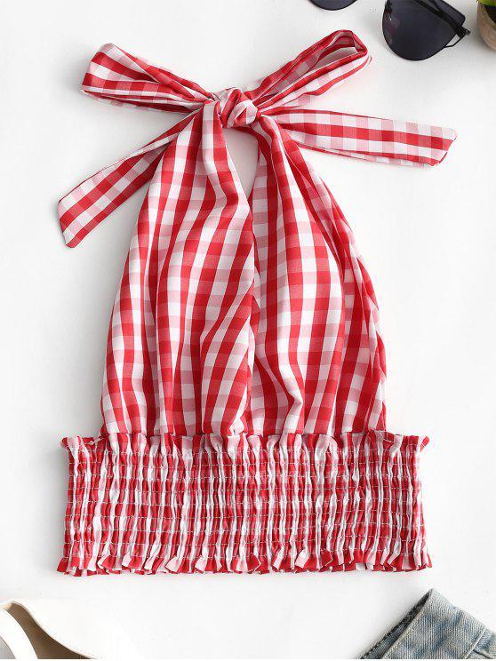 توب قصير من قماش المربعات بتصميم منمق ومرن مكشوف الظهر - أحمر XL