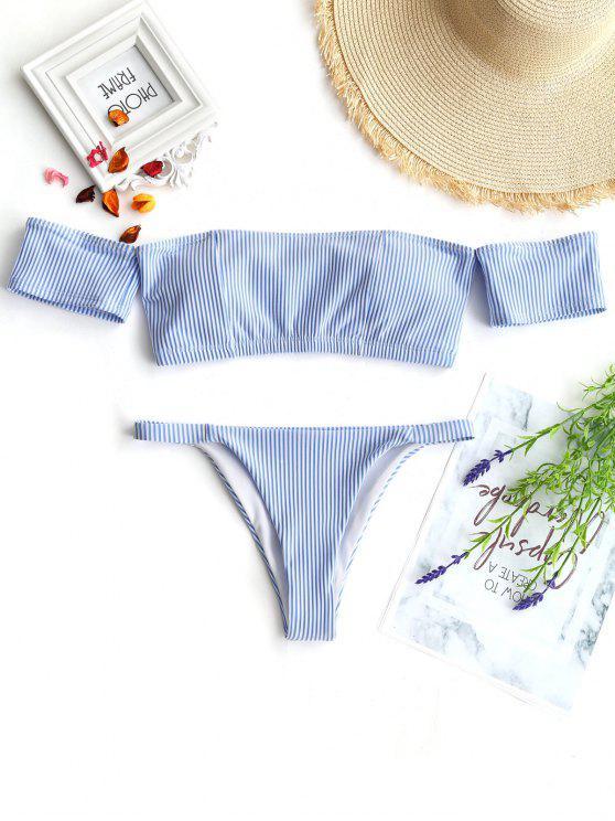 latest Off Shoulder Striped Thong Bikini - BLUE AND WHITE S