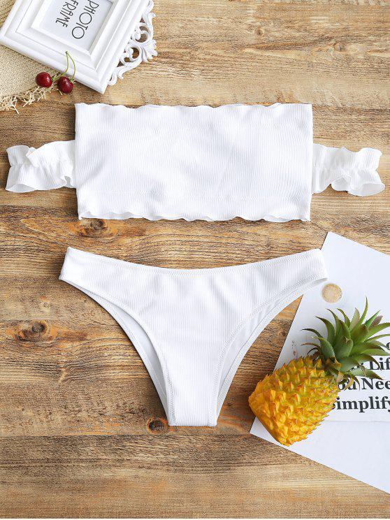 buy Off Shoulder Ruffles Ribbed Bikini - WHITE M