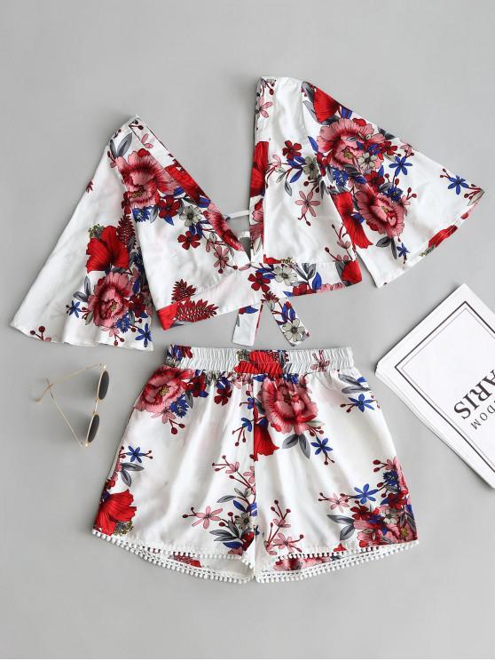 Blumen Geschnittenes Top Und Spitze Trim Hoch Taillierte Shorts - Weiß L
