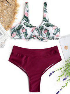 Haut De Bikini Imprimé Feuille De Palmier Et Bas Drapé - Bourgogne M
