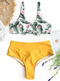 Palm Leaf Bikini Top And Ruched Bottoms - Mustard Xl