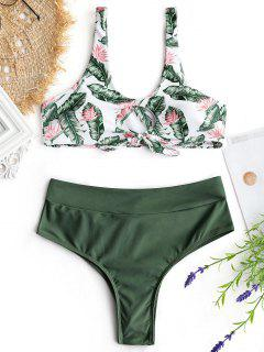 Palm Leaf Bikini Top And Ruched Bottoms - Army Green S
