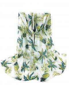 Pineapple Pattern Decorated Sheer Scarf - White