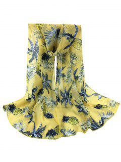 Pineapple Pattern Decorated Sheer Scarf - Yellow