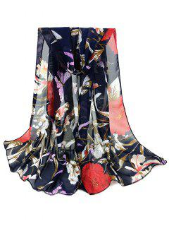 Simple Floral Pattern Silky Long Scarf - Cadetblue