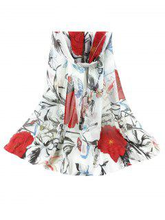 Simple Floral Pattern Silky Long Scarf - White