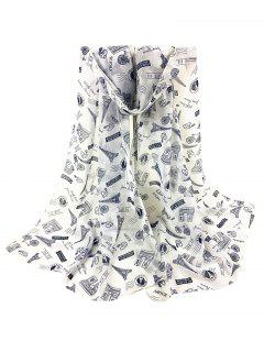 Eiffel Tower Pattern Silky Long Scarf - White