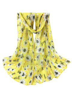 Chrysanthemum Pattern Silky Long Scarf - Yellow