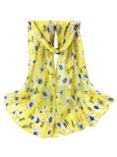 Chrysanthemum Pattern Silky Long Scarf - Yellow