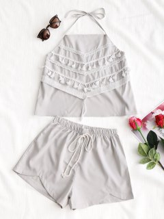 Tassels Halter Top And Shorts Set - Light Gray M