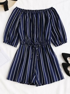 Off Shoulder Tied Bowknot Striped Romper - Purplish Blue L