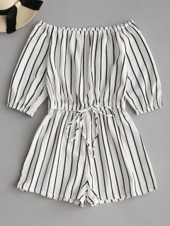Off Shoulder Tied Bowknot Striped Romper - White M