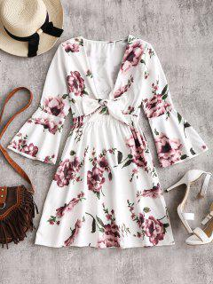 Flare Sleeve Plunging Neck Floral Dress - White M