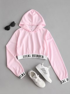 Letter Cropped Hoodie - Pink Xl