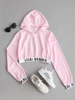 Buchstabe Beschnittener Hoodie - Pink S