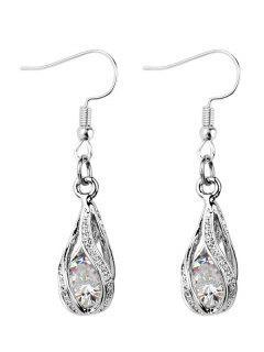 Faux Diamond Inlay Hollow Out Waterdrop Drop Earrings - Silver