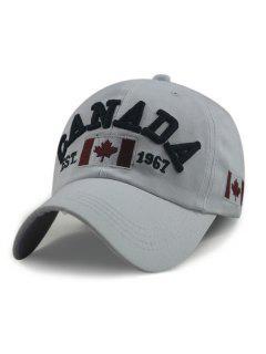Sombrero De Béisbol Ajustable Del Patrón De La Bandera De Canadá - Gris Claro