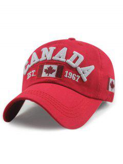 Canada Flag Pattern Adjustable Baseball Hat - Red