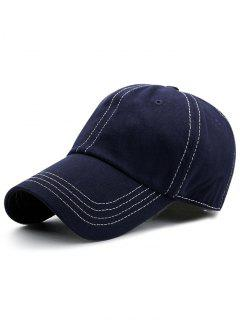 Line Embroidery Adjustable Graphic Hat - Cadetblue