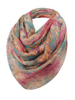 Mosaic Tile Pattern Sheer Scarf - Purplish Red