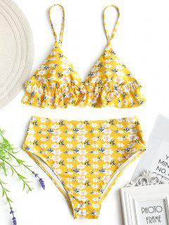 Tiny Floral High Waisted Bathing Suit - Yellow L