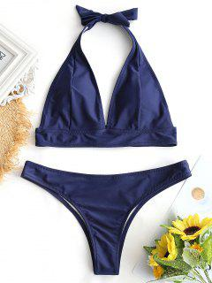 Halter Padded Thong Bathing Suit - Purplish Blue S