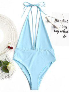 Plunging Neck Open Back Bralette Swimwear - Azure L