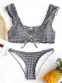 Ensemble Bikini Soutien-Gorge à Carreaux à Lacets  - Blanc Et Noir M