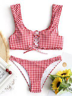 Gingham Lace Up Bralette Bikini Set - Red And White M