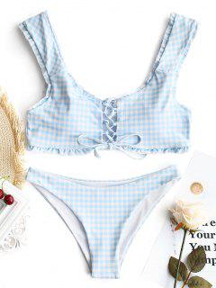 Gingham Lace Up Bralette Bikini Set - Blue And White S