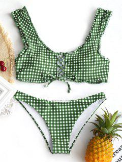 Conjunto De Bikini Bralette Con Cordones Y Guinga - Blanco Y Verde S