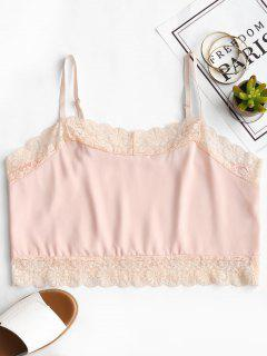 Lace Panel Crop Cami Top - Pink S