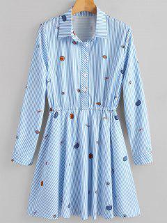 Striped Half Button Shirt Dress - Blue M