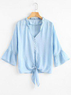 Ruffle Collar Tie Front Half Button Shirt - Light Blue M
