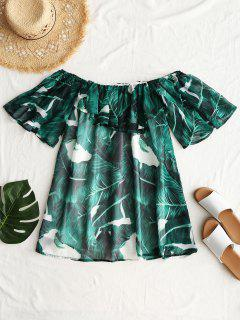 Off Shoulder Flounce Leaves Print Blouse - Green M