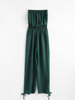Side Slit Strapless Jumpsuit - Green M
