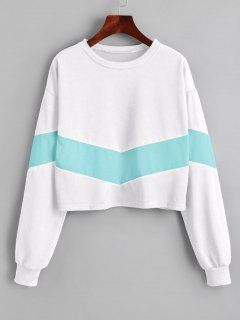 Cropped Two Tone Sweatshirt - White M
