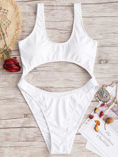 Plus Size High Leg Cut Out Swimwear - White 3xl