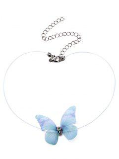 Mesh Rhinestone Butterfly Collarbone Necklace - Green