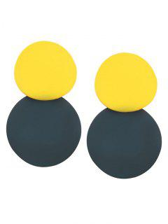 Two Tone Color Block Simple Earrings - Fluorescent Yellow