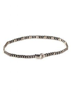 Cinturón De Cintura Elástico Elástico Embellecido Metal - Plata