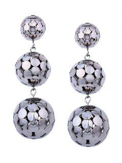 Layered Alloy Disc Ball Earrings - White